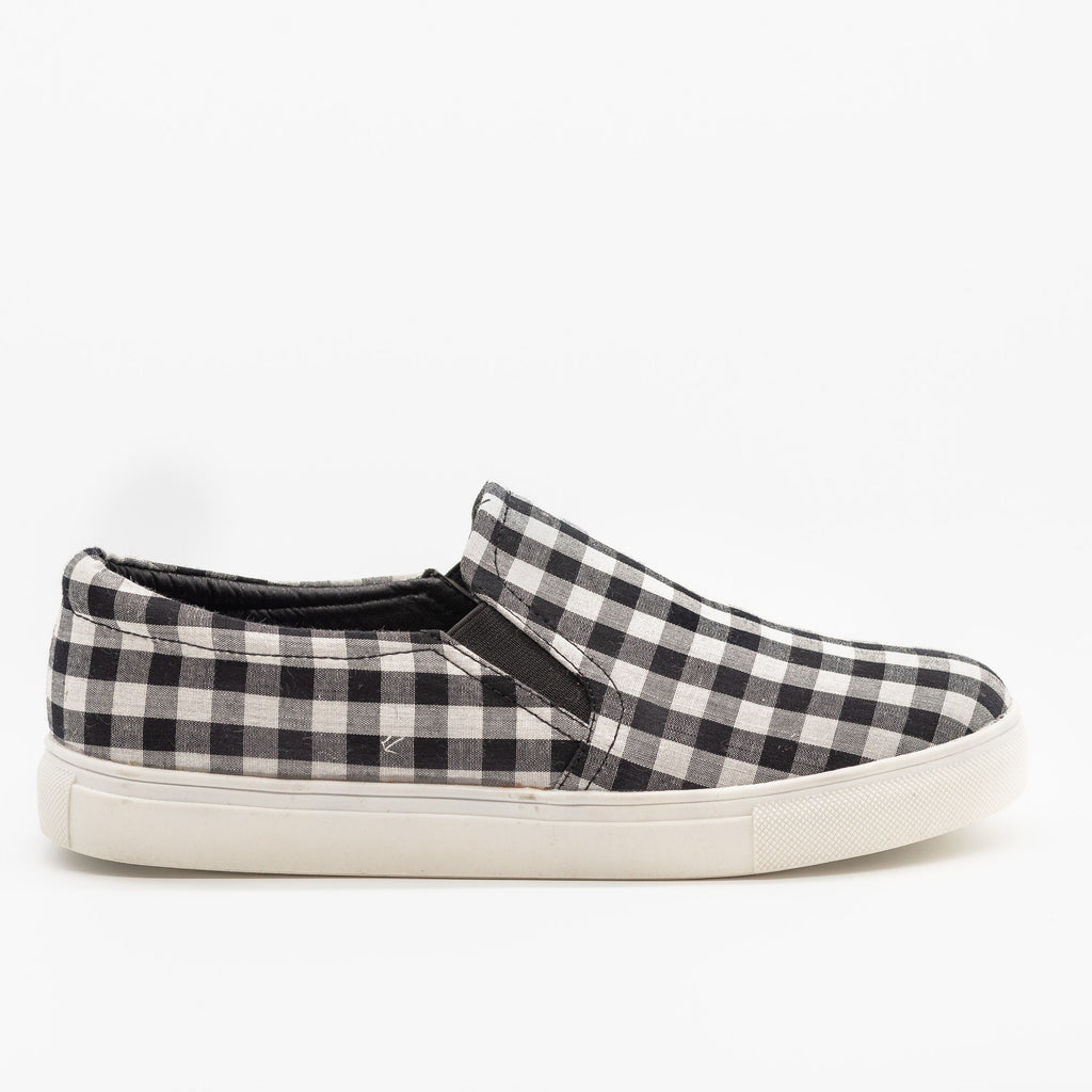 Womens Lovely Gingham Slip-On Sneakers - AMS Shoes - Black / 5