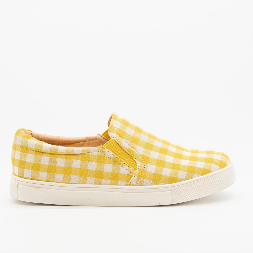 Womens Lovely Gingham Slip-On Sneakers - AMS Shoes - Yellow / 5