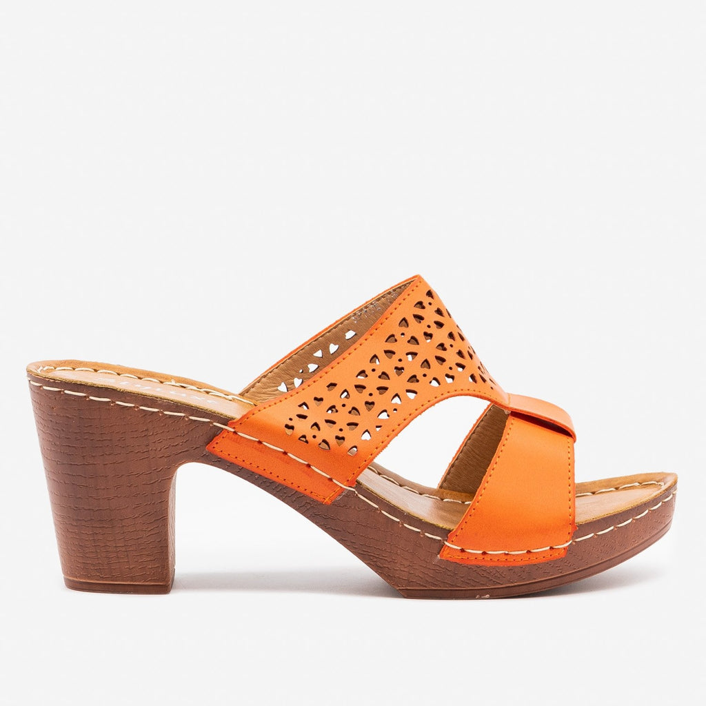 Women's Lovely Heart Cut Out Heels - Styluxe Shoes - Orange / 5