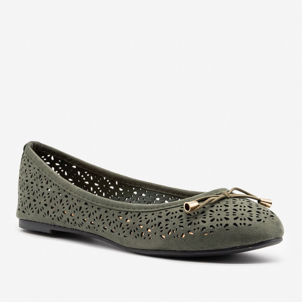 Women's Lovely Laser Cut Ballet Flats - Refresh - Khaki / 5