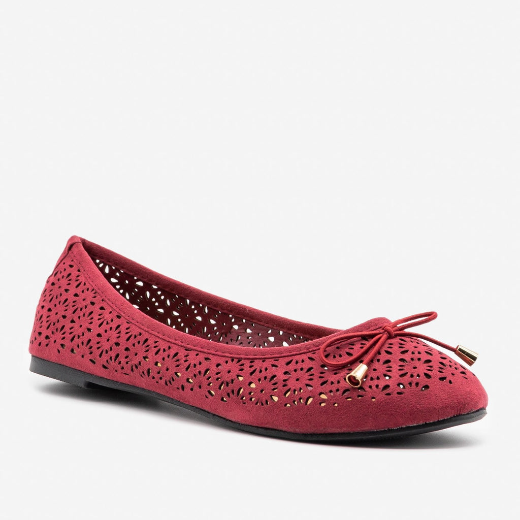 Women's Lovely Laser Cut Ballet Flats - Refresh - Wine / 5