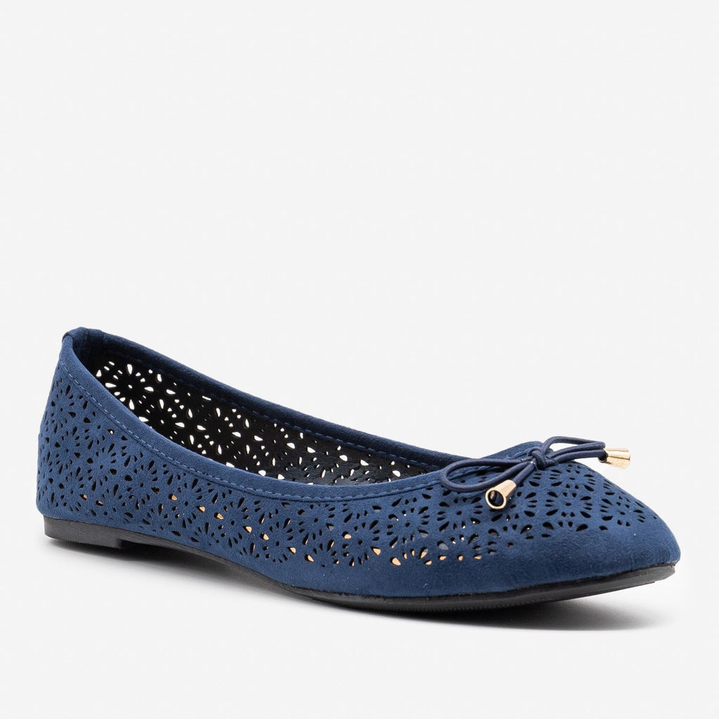 Women's Lovely Laser Cut Ballet Flats - Refresh - Navy / 5