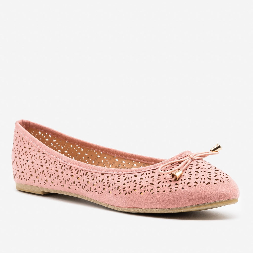 Women's Lovely Laser Cut Ballet Flats - Refresh - Dusty Pink / 5