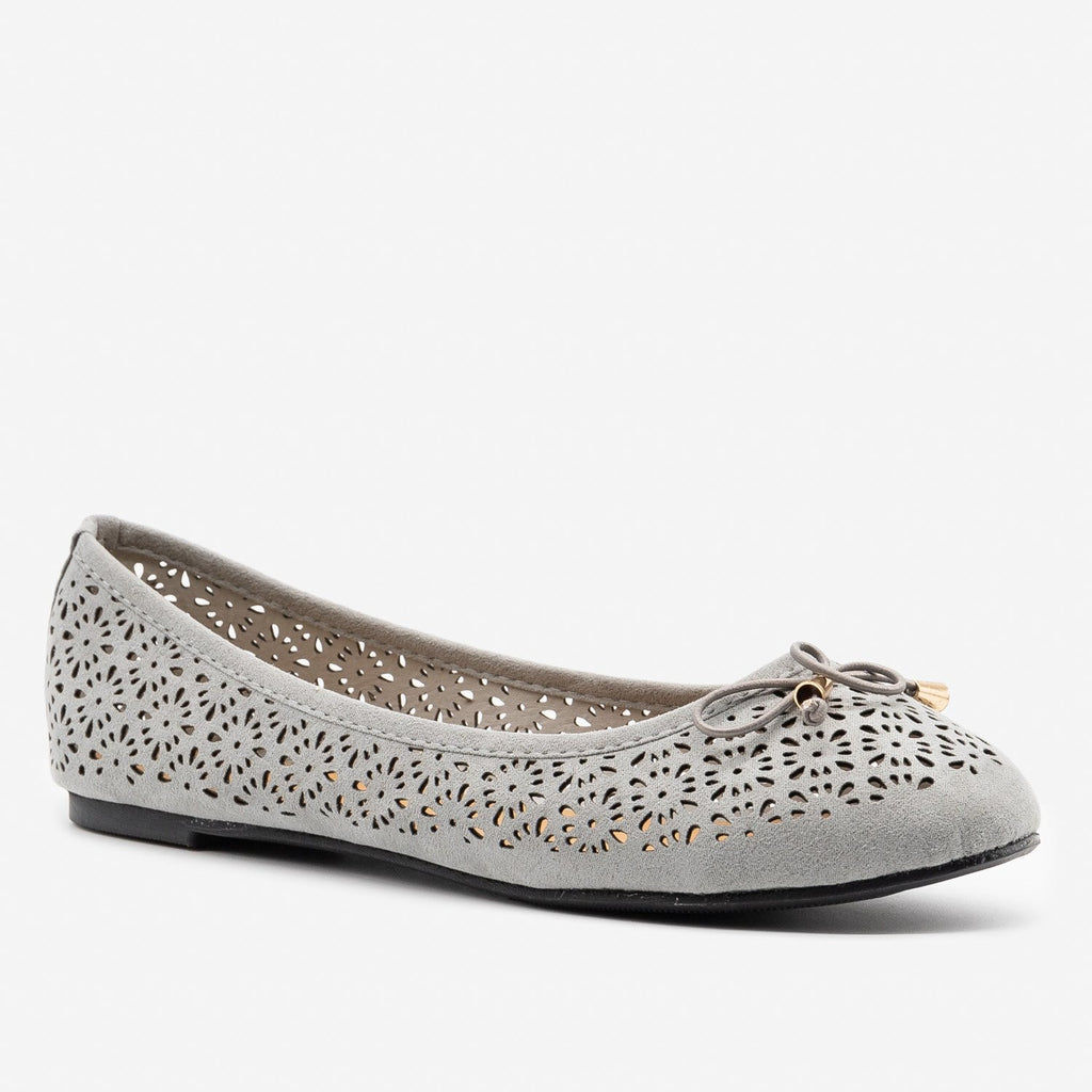 Women's Lovely Laser Cut Ballet Flats - Refresh - Gray / 5