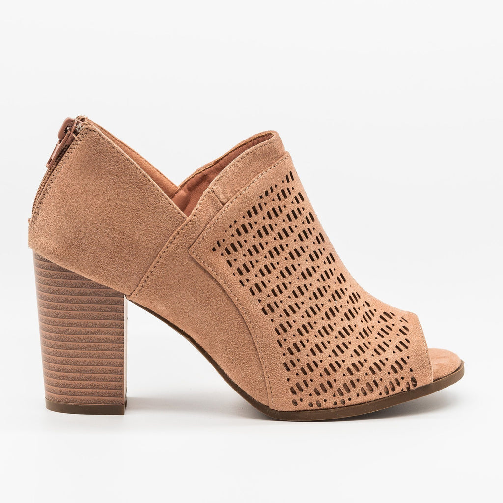 Womens Lovely Laser Cut Design Peep-Toe Booties - Refresh - Mauve / 5