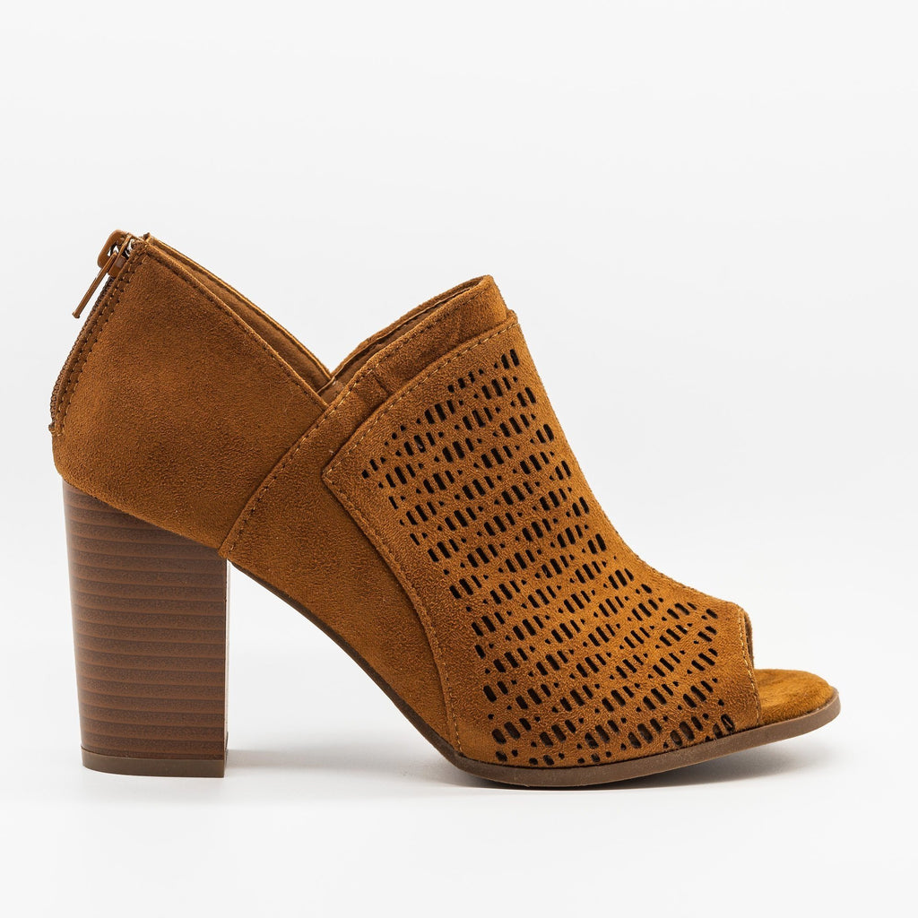 Womens Lovely Laser Cut Design Peep-Toe Booties - Refresh - Tan / 5