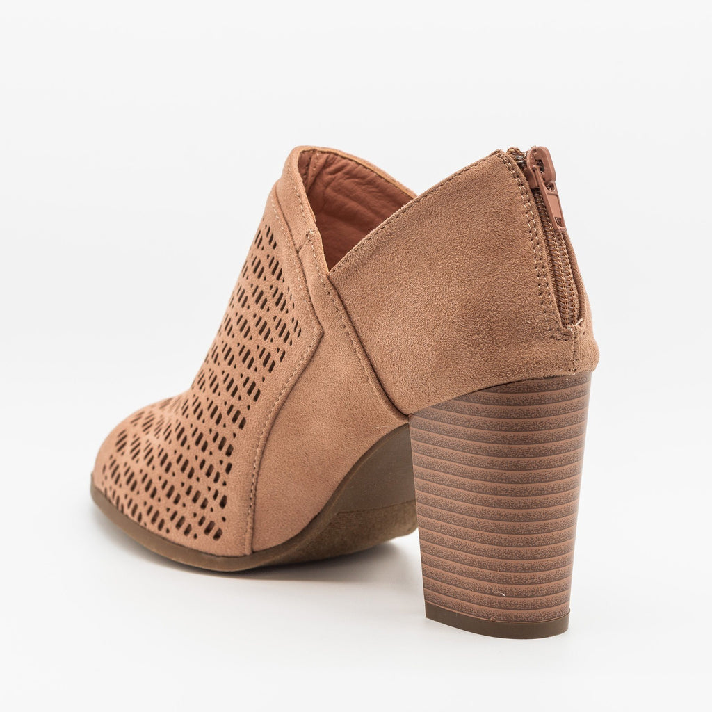 Womens Lovely Laser Cut Design Peep-Toe Booties - Refresh