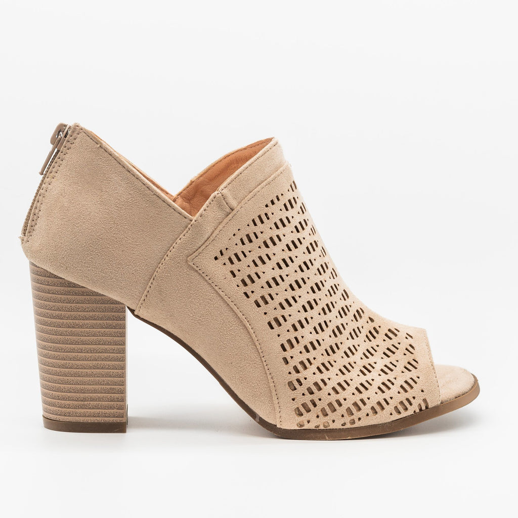 Womens Lovely Laser Cut Design Peep-Toe Booties - Refresh - Taupe / 5