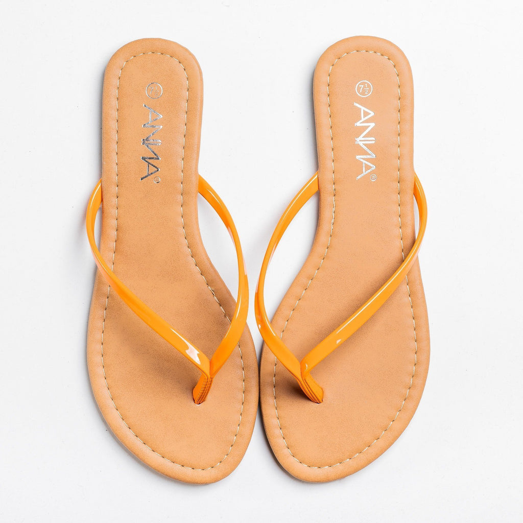 Womens Lovely Neon Flip Flops - Anna Shoes - Orange / 5