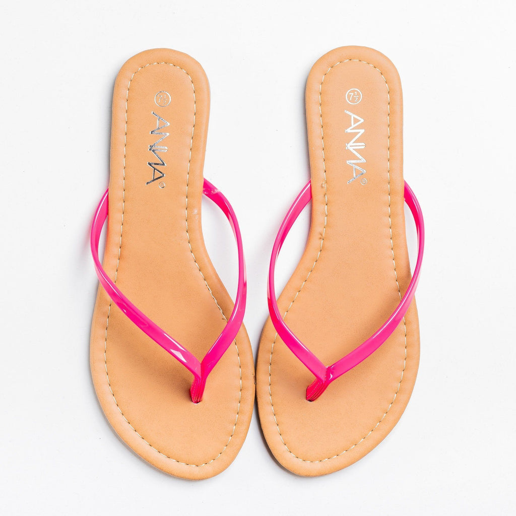 Womens Lovely Neon Flip Flops - Anna Shoes - Pink / 5