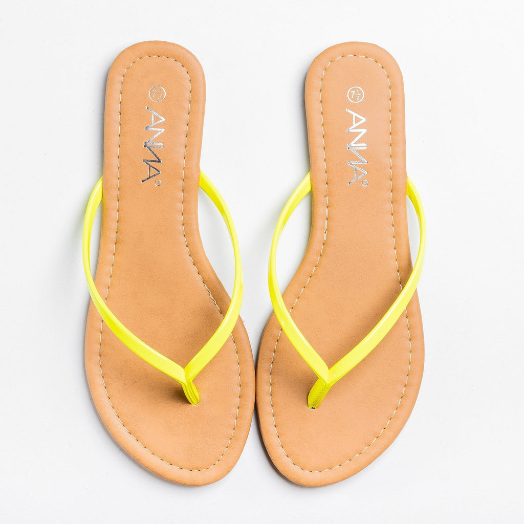 Womens Lovely Neon Flip Flops - Anna Shoes - Yellow / 5
