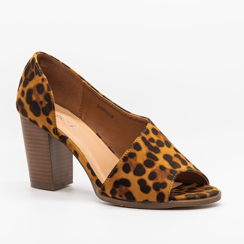 Womens Lovely Peep-Toe Wraparound Heels - Refresh - Leopard / 5