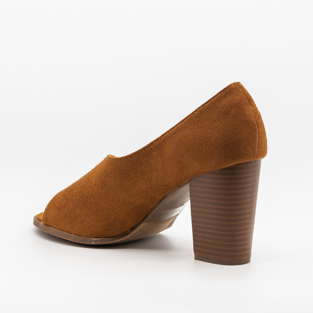 Womens Lovely Peep-Toe Wraparound Heels - Refresh