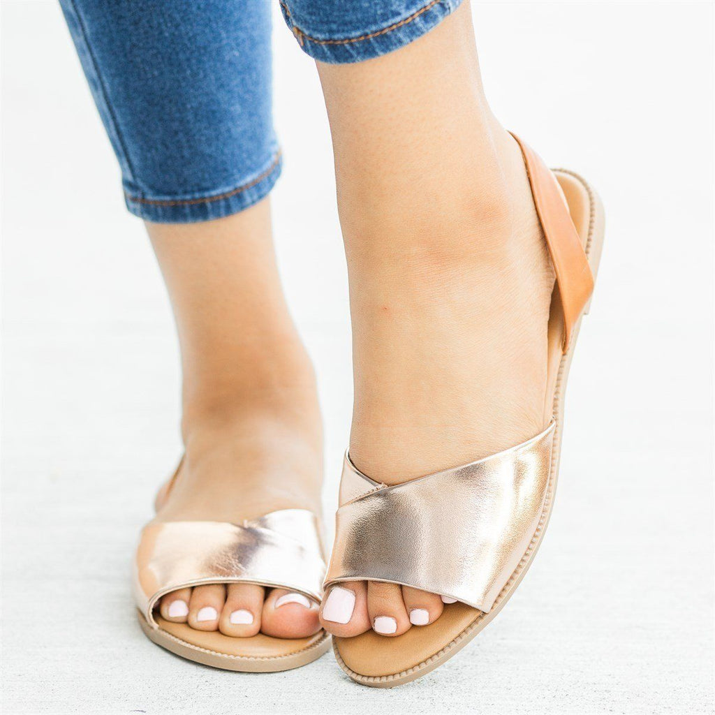 Womens Classy Slingback Slip-On Sandals - Qupid Shoes