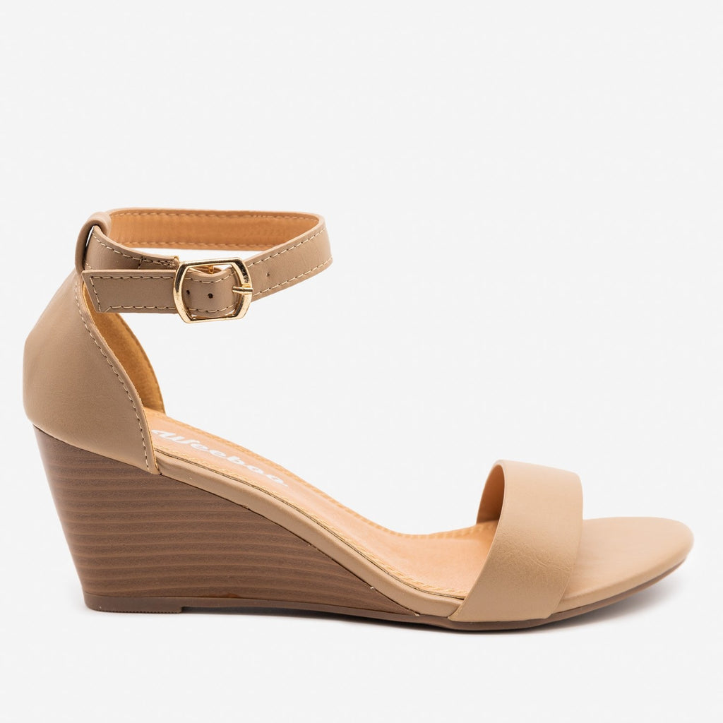 Women's Lovely Stacked Wedge Heels - Weeboo - Taupe / 5