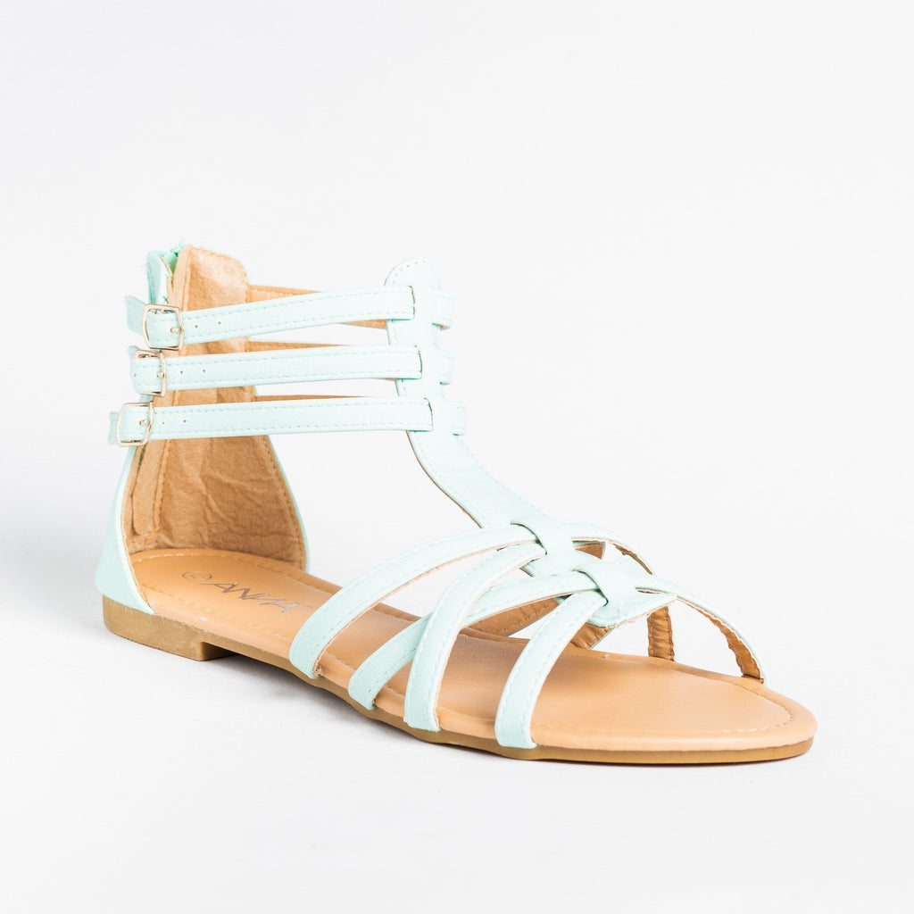 Womens Lovely Strappy Gladiator Sandals - Anna Shoes - Mint / 5