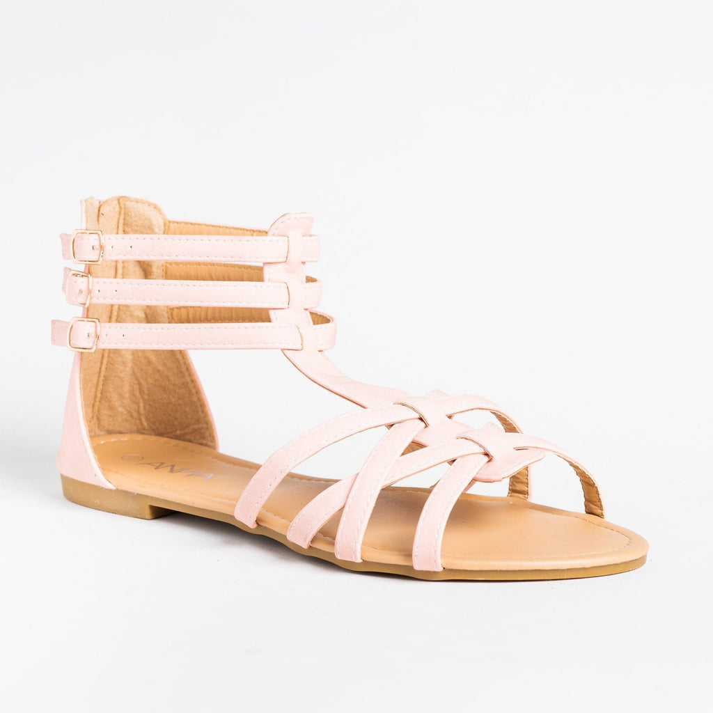 Womens Lovely Strappy Gladiator Sandals - Anna Shoes - Pink / 5