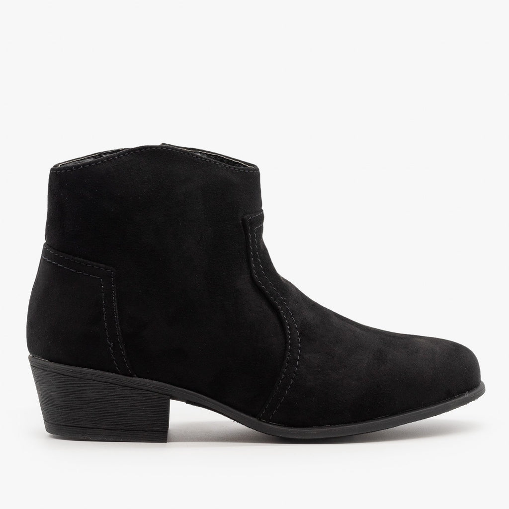 Womens Low Ankle Cowboy Booties - Soda Shoes - Black / 5