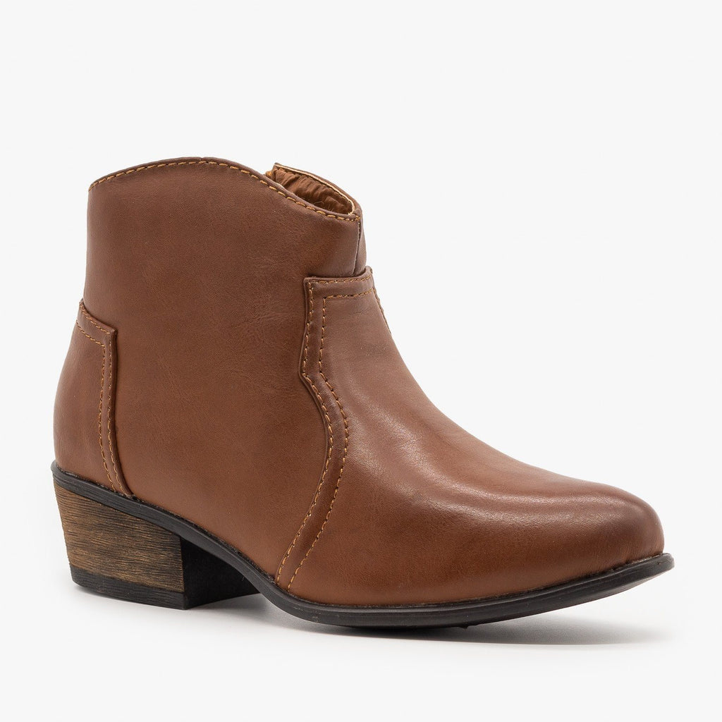 Womens Low Ankle Cowboy Booties - Soda Shoes