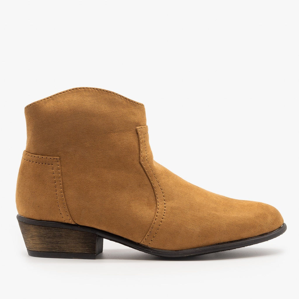 Womens Low Ankle Cowboy Booties - Soda Shoes - Natural / 5