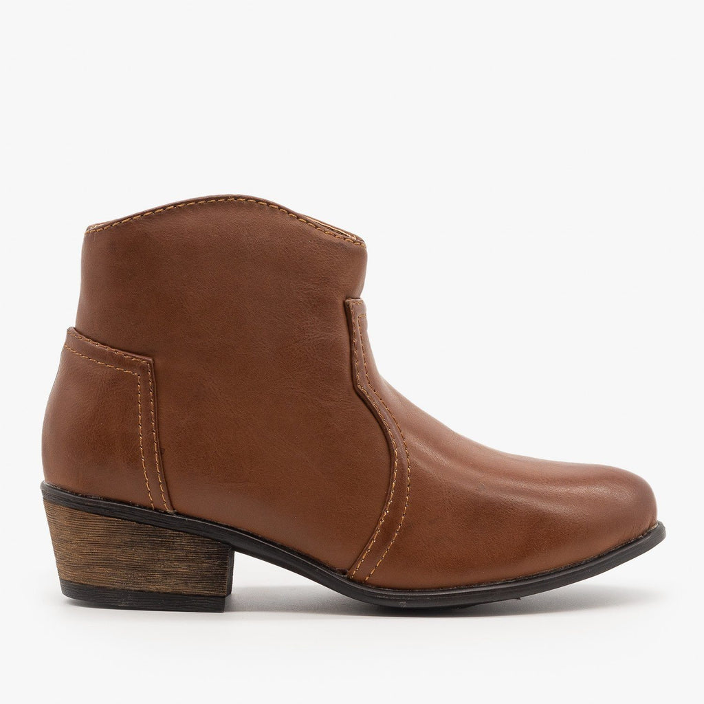 Womens Low Ankle Cowboy Booties - Soda Shoes - Chestnut / 5