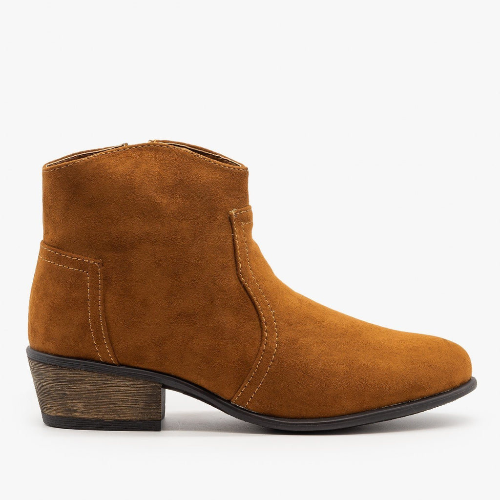 Womens Low Ankle Cowboy Booties - Soda Shoes - Cognac / 5
