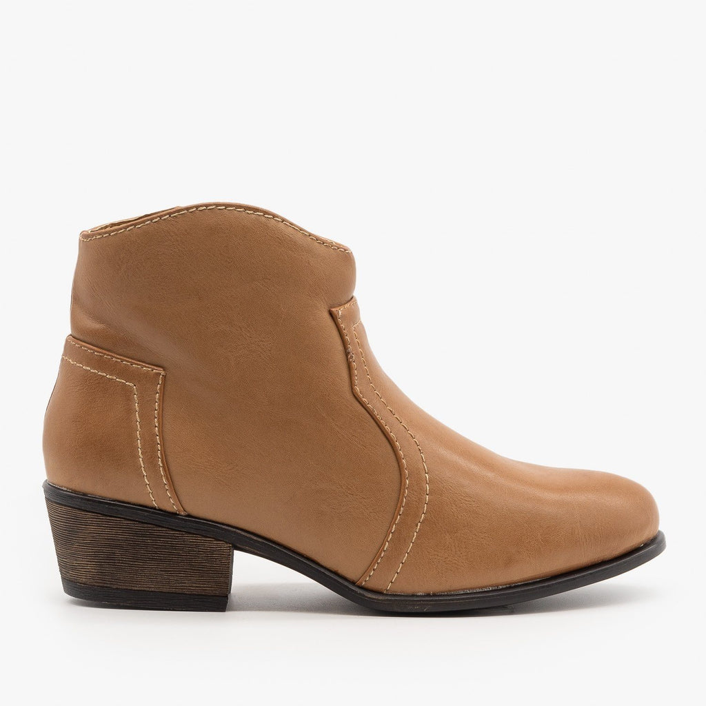 Womens Low Ankle Cowboy Booties - Soda Shoes - Stone / 5