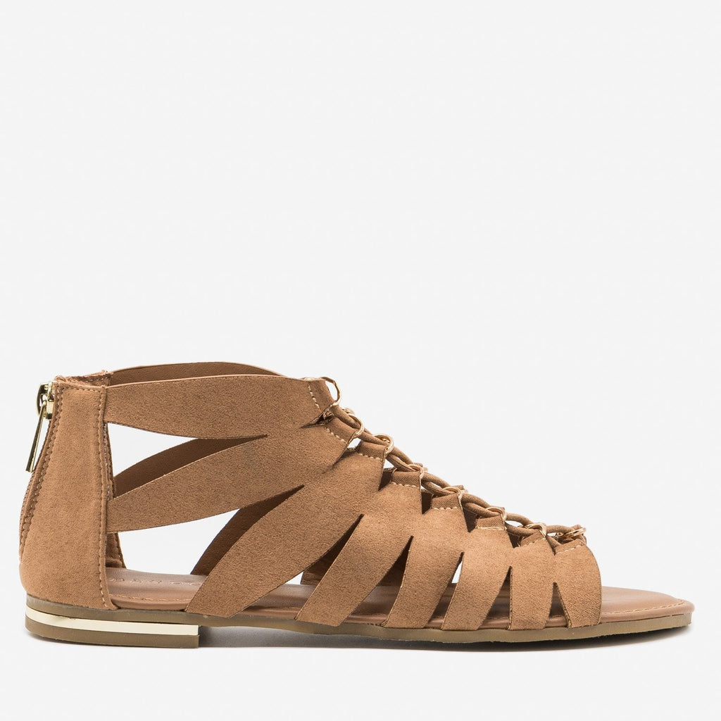 Women's Low Ankle Gladiator Sandals - Bamboo Shoes - Tan / 5