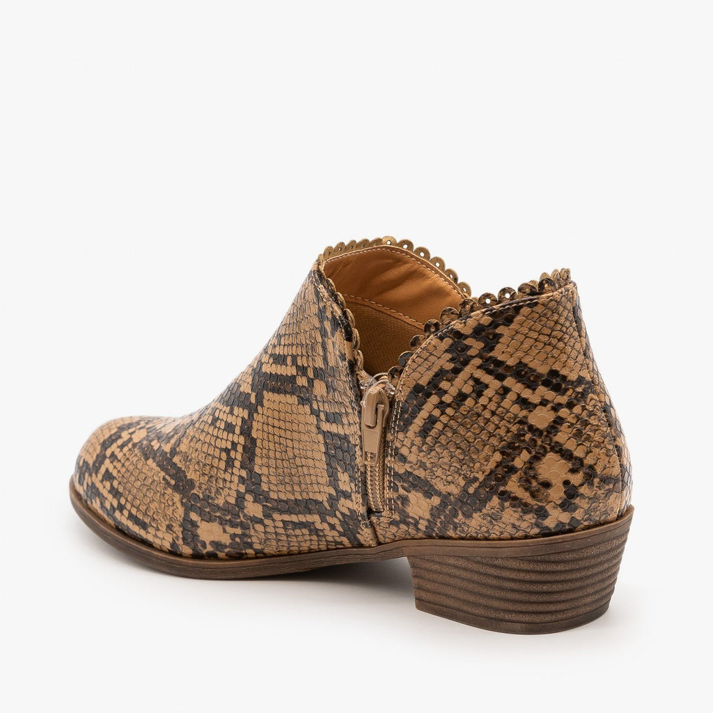 Womens Low Heel Ankle Booties - Mata