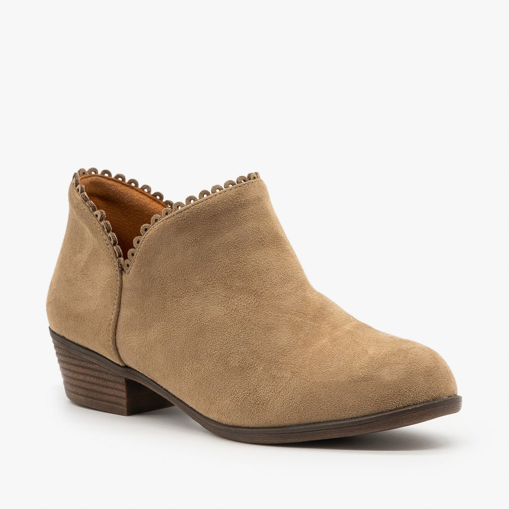 Womens Low Heel Ankle Booties - Mata - Taupe / 5