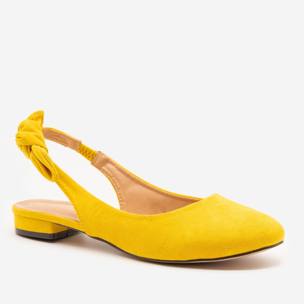 Women's Low Heel Bow Mules - Breckelle's - Yellow / 5
