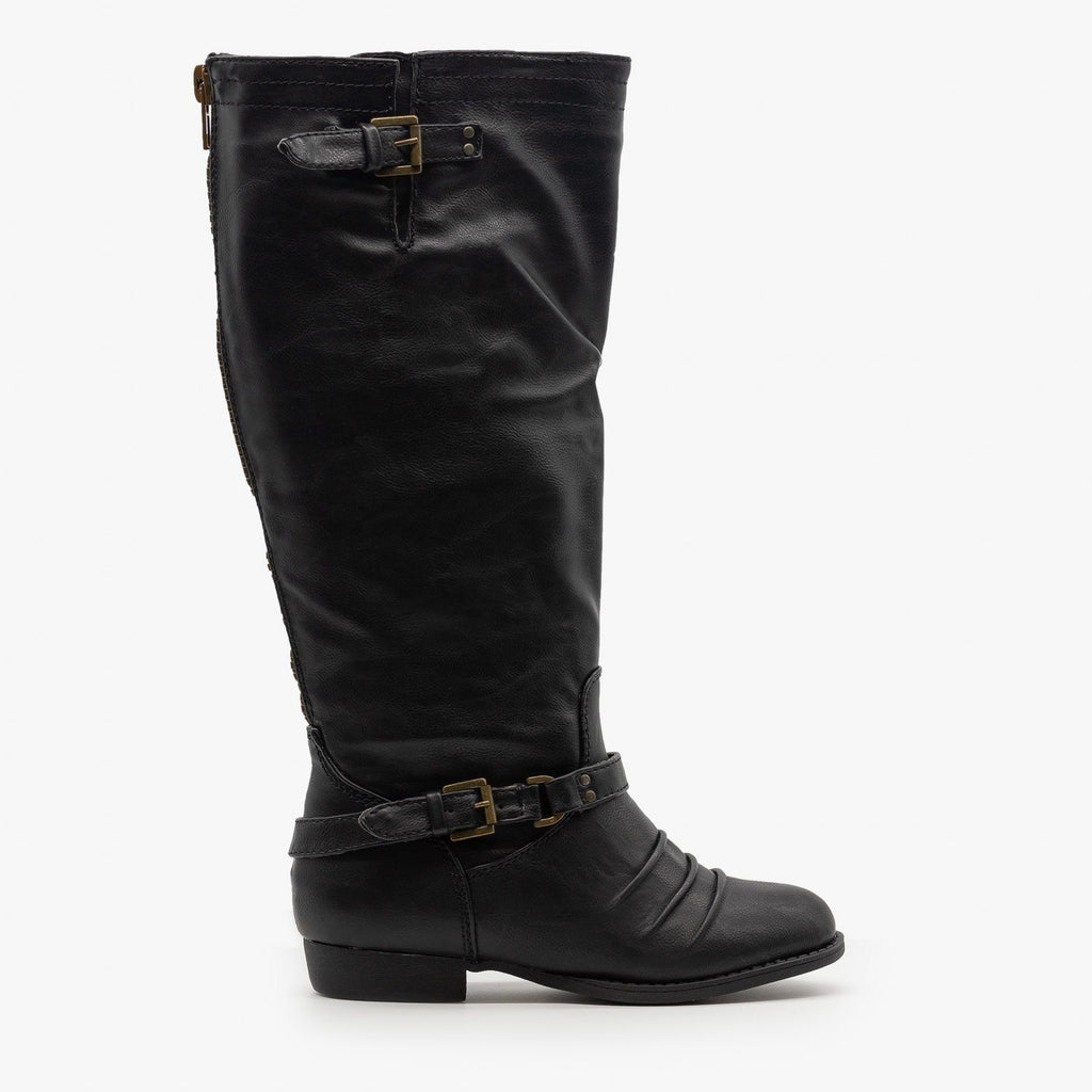 Womens Low Heel Buckled Riding Boots - Soda Shoes - Black / 5