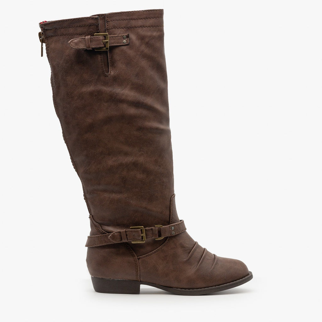 Womens Low Heel Buckled Riding Boots - Soda Shoes - Brown / 5