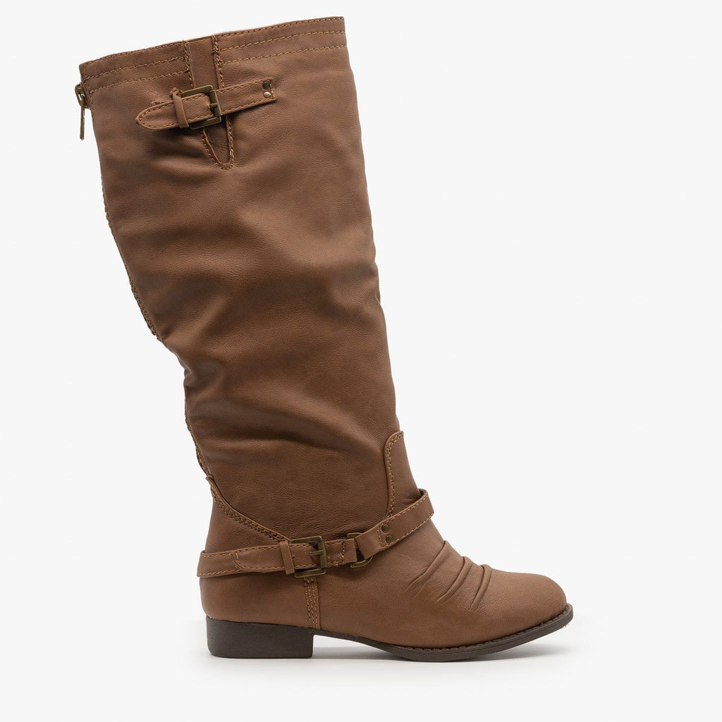 Womens Low Heel Buckled Riding Boots - Soda Shoes - Tan / 5