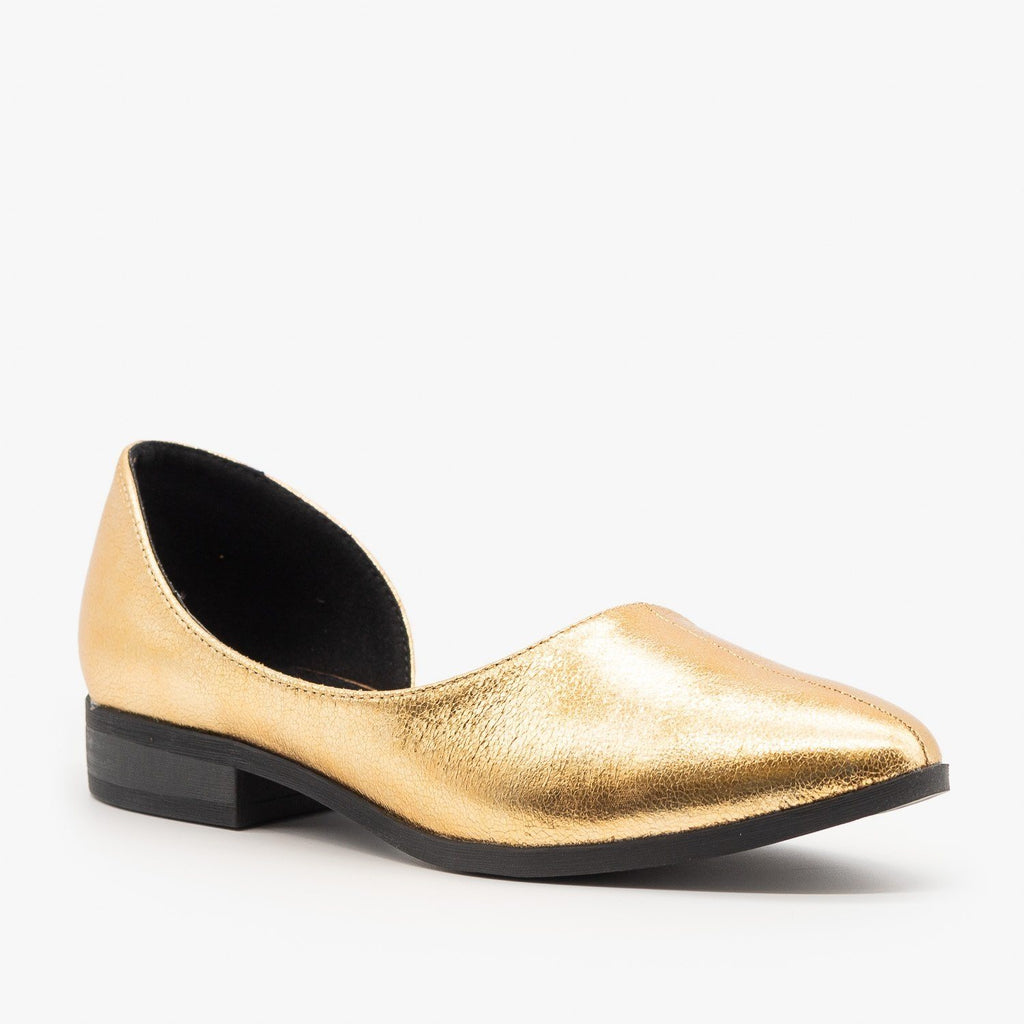 Womens Low Heel dOrsay Flats - Qupid Shoes - Gold Crinkle / 5