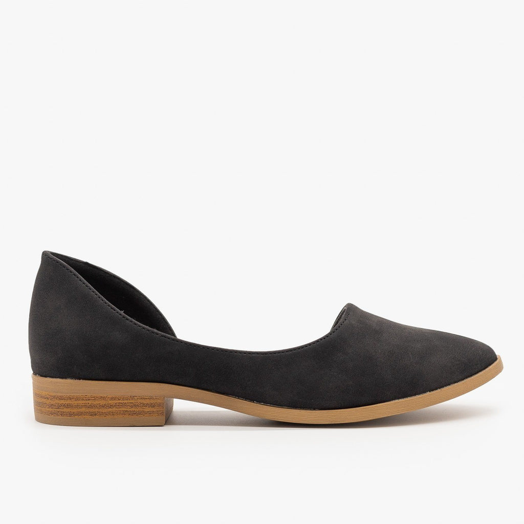 Womens Low Heel dOrsay Flats - Qupid Shoes