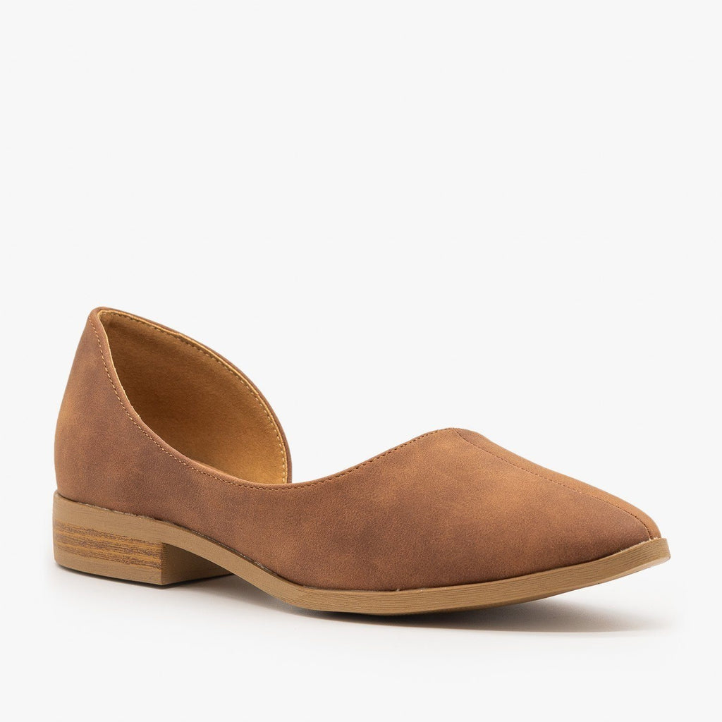 Womens Low Heel dOrsay Flats - Qupid Shoes - Cognac / 5