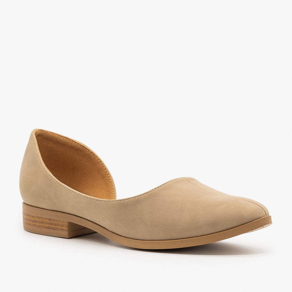 Womens Low Heel dOrsay Flats - Qupid Shoes - Taupe / 5