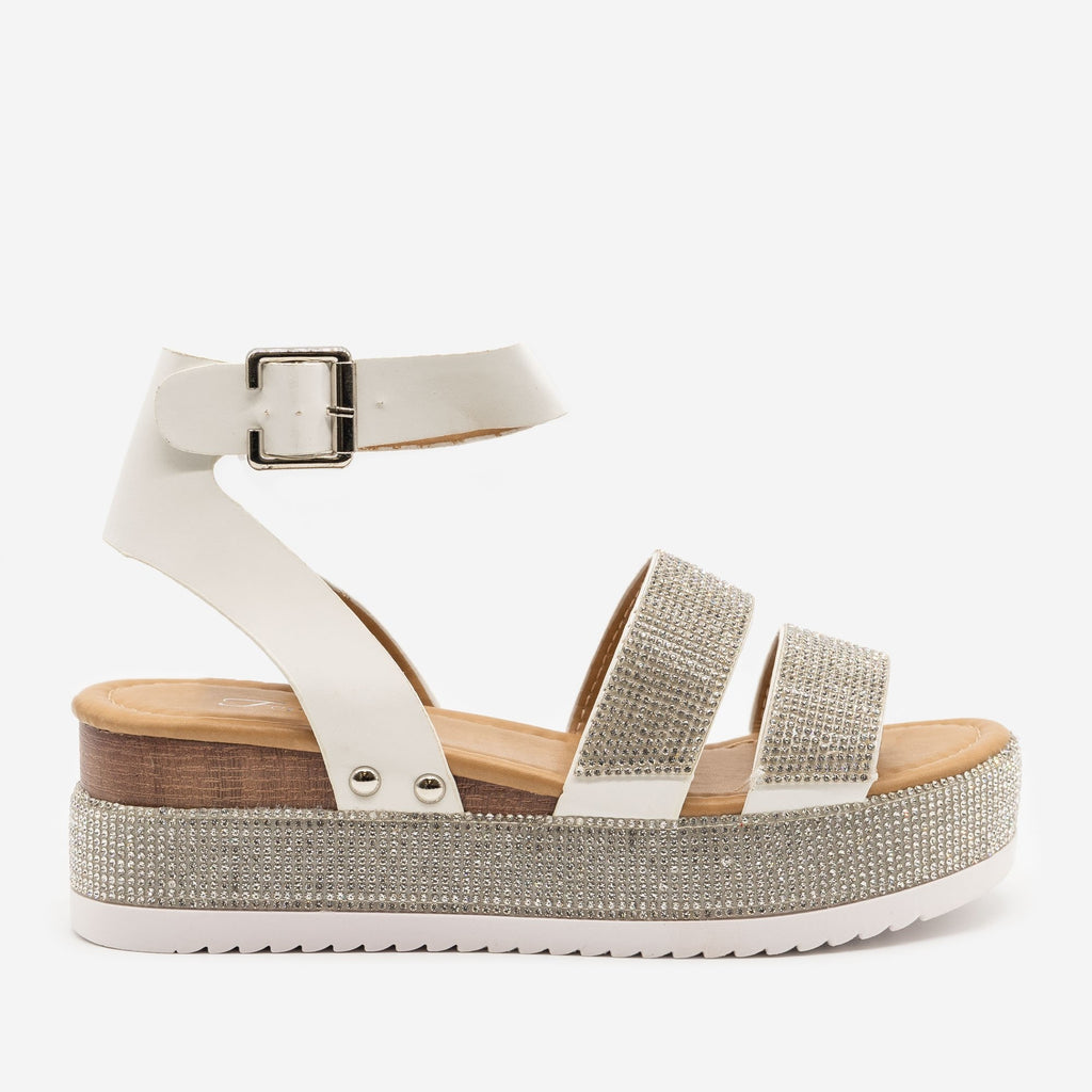 Women's Luxury Crystal Platform - Forever - White / 5