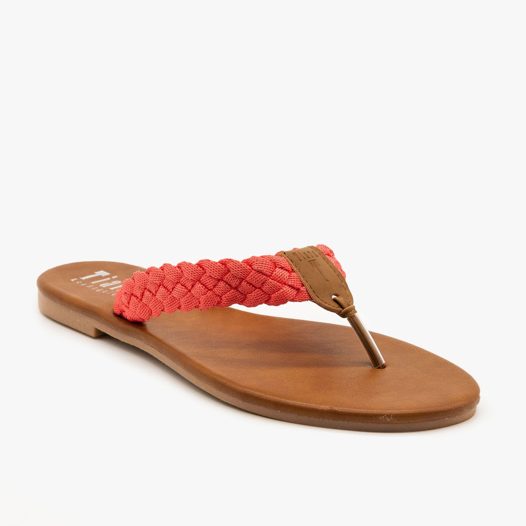 Womens Macrame Braided Sandals - Tiara Shoes - Coral / 5