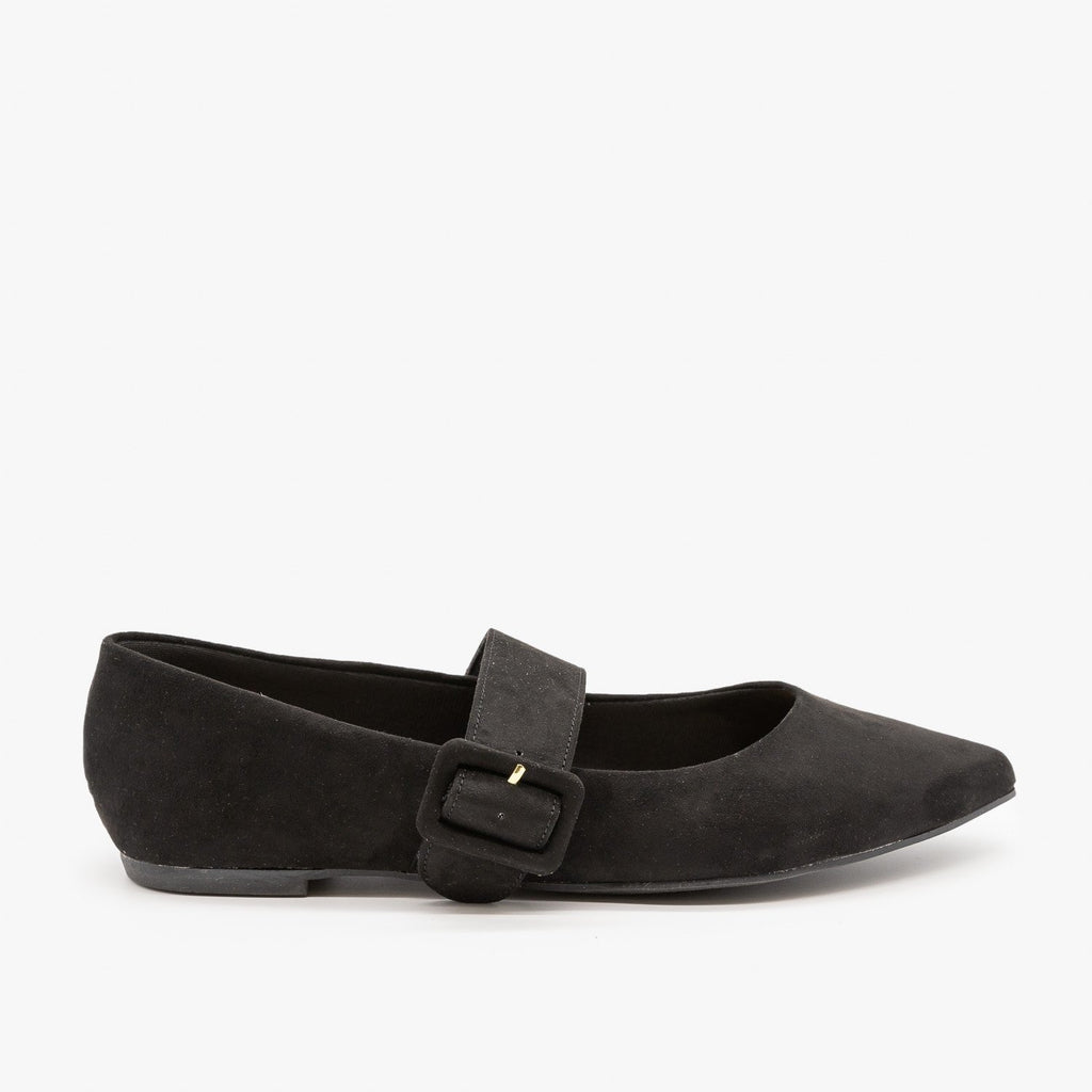 Womens Mary Jane Buckle Flats - Bamboo Shoes - Black / 5