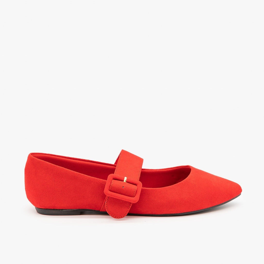 Womens Mary Jane Buckle Flats - Bamboo Shoes - Red / 5