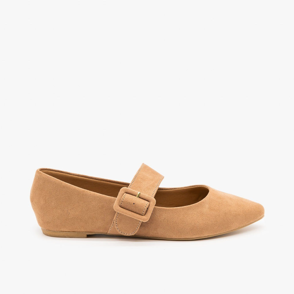 Womens Mary Jane Buckle Flats - Bamboo Shoes - Camel / 5