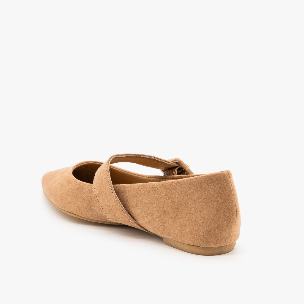 Womens Mary Jane Buckle Flats - Bamboo Shoes