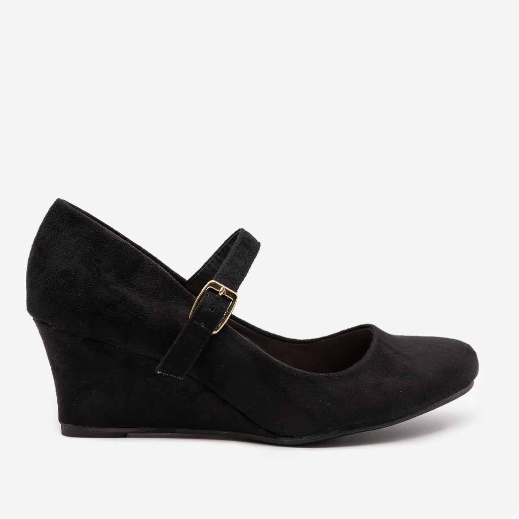 Women's Mary Jane Wedge Heels - Anna Shoes - Black / 5