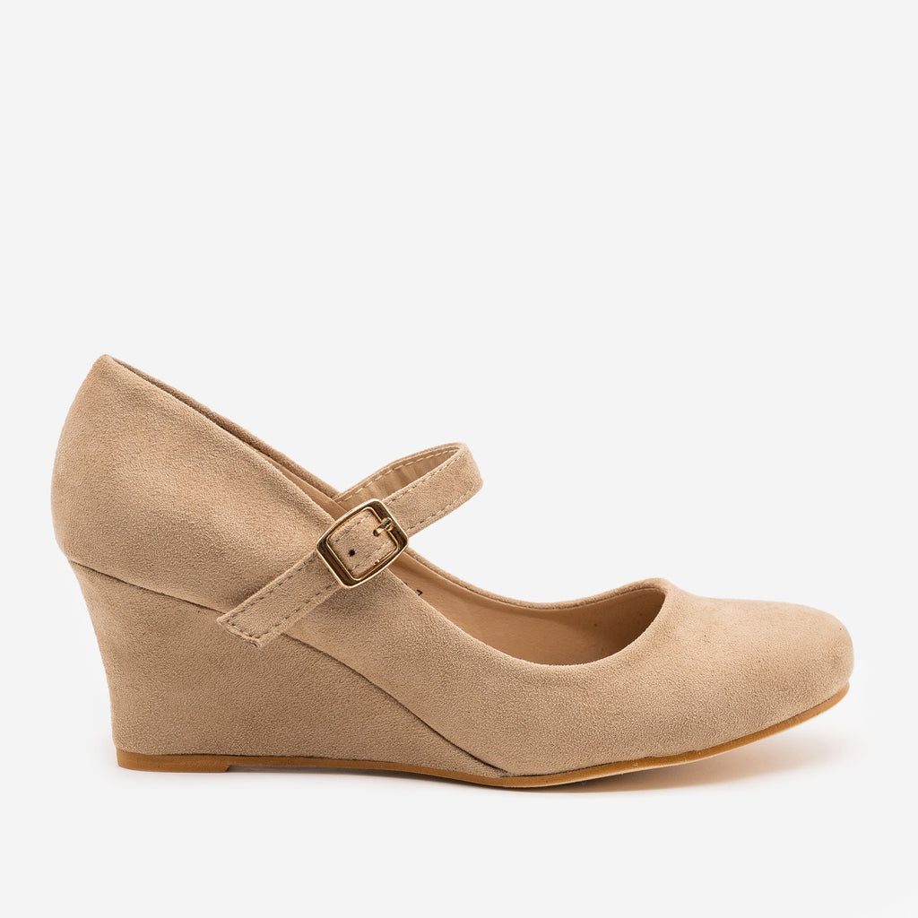 Women's Mary Jane Wedge Heels - Anna Shoes - Taupe / 5