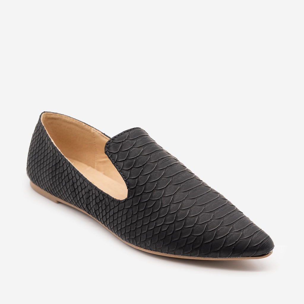 Women's Matte Black Snake Print Loafers - Mata