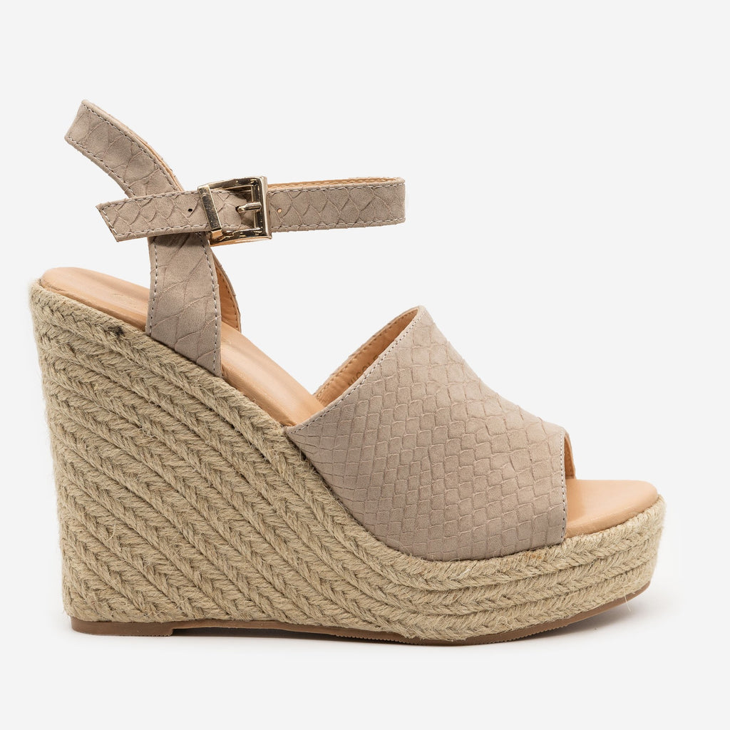 Women's Matte Finish Snake Print Wedges - Mata - Taupe / 5