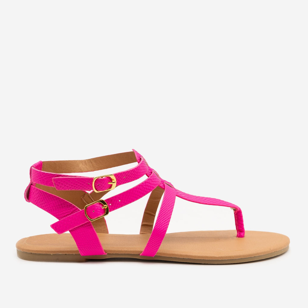 Women's Matte Neon Snake Print Sandals - Qupid Shoes - Pink / 5