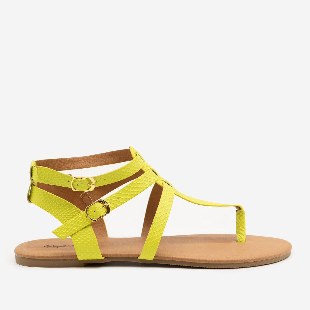 Women's Matte Neon Snake Print Sandals - Qupid Shoes - Yellow / 5